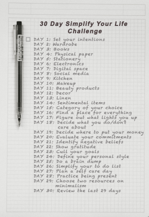 Simplify your life challenge day 1